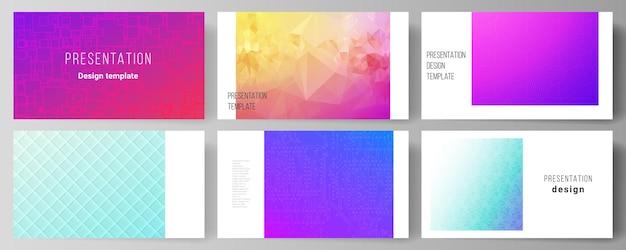 프레젠테이션 슬라이드의 편집 가능한 레이아웃의 최소한의 추상은 비즈니스 템플릿을 디자인합니다. 화려한 그라데이션 사업 배경으로 추상 기하학적 패턴입니다. 프리미엄 벡터
