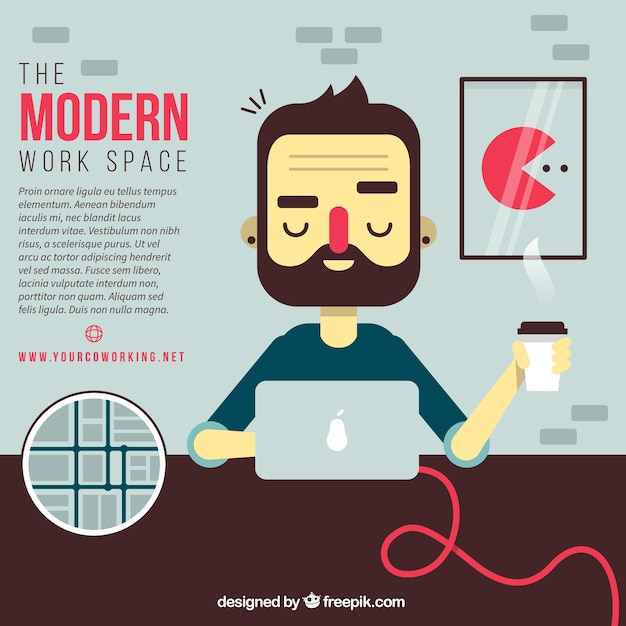 The modern work space illustration Premium Vector