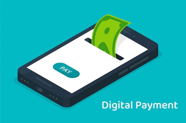 オンラインショッピング用のデジタル通貨で携帯電話に保存されているお金。 Premiumベクター