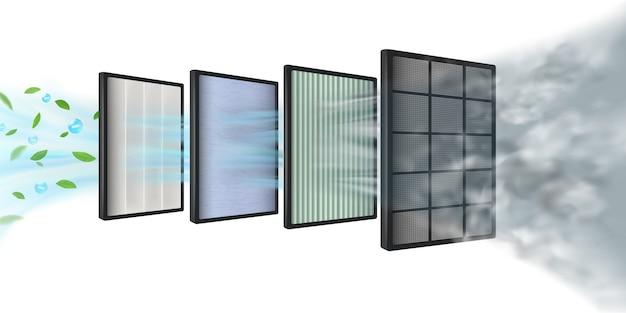 Новая технология эффективности многослойного воздушного фильтра состоит из нескольких слоев фильтра. грубые волокна, углеродные слои, hepa-фильтр, тканевые слои, слой очистки воздуха, защита Premium векторы
