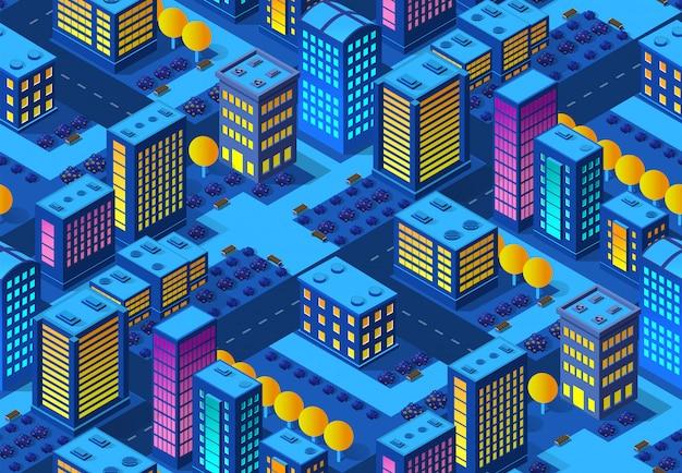 Ночной умный город бесшовные фоновый узор 3d будущее неоновый ультрафиолетовый набор изометрических зданий городской инфраструктуры. Premium векторы