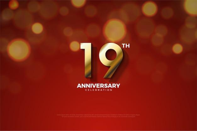 Девятнадцатая годовщина с небольшой тенью между цифрами Premium векторы