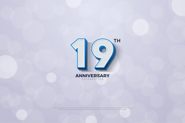 Девятнадцатилетие с цифрой в синюю полоску по краю Premium векторы