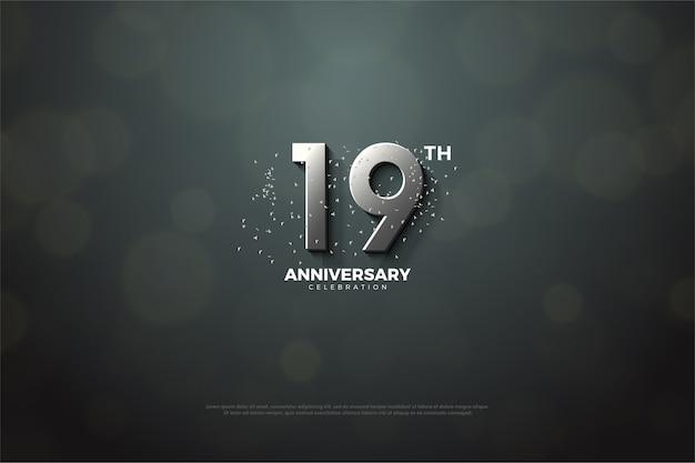 Девятнадцатая годовщина с серебряными цифрами Premium векторы