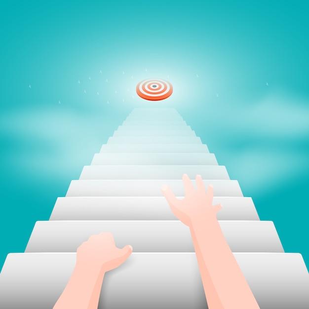 Руки человека ползут по лестнице, ведущей к цели. Premium векторы