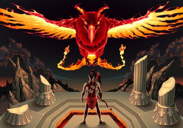 Феникс и человек Бесплатные векторы