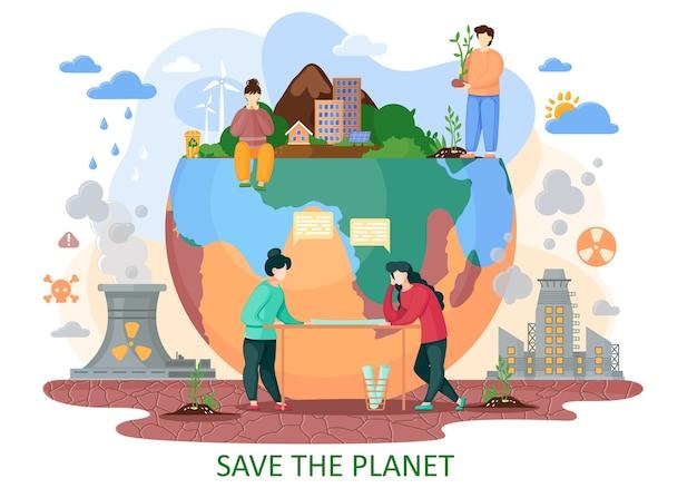Планета земля страдает от деятельности человека. человек приносит с собой взрывы, вырубку лесов, кислотные дожди, радиационные выбросы, загрязненный воздух. планируйте спасти планету от последствий Premium векторы