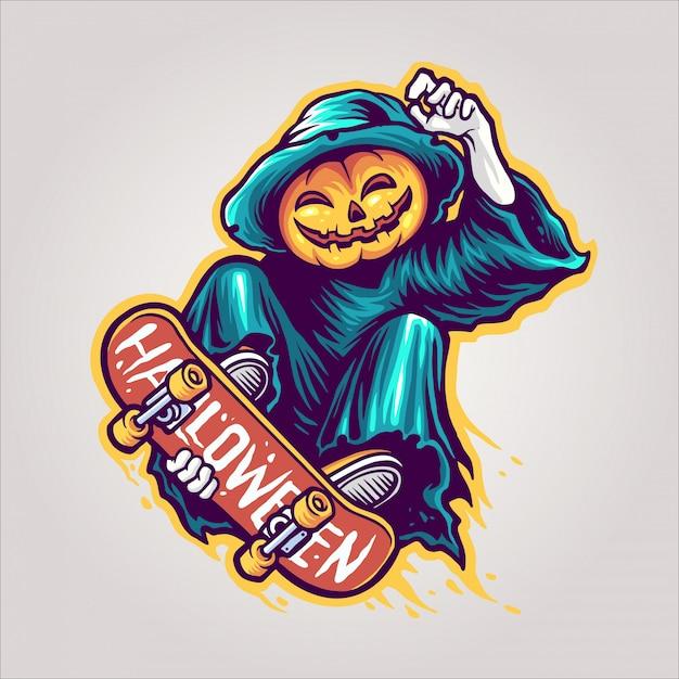 かぼちゃのスケーター Premiumベクター