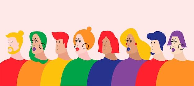 Векторная иллюстрация lgbtq сообщества queer Бесплатные векторы