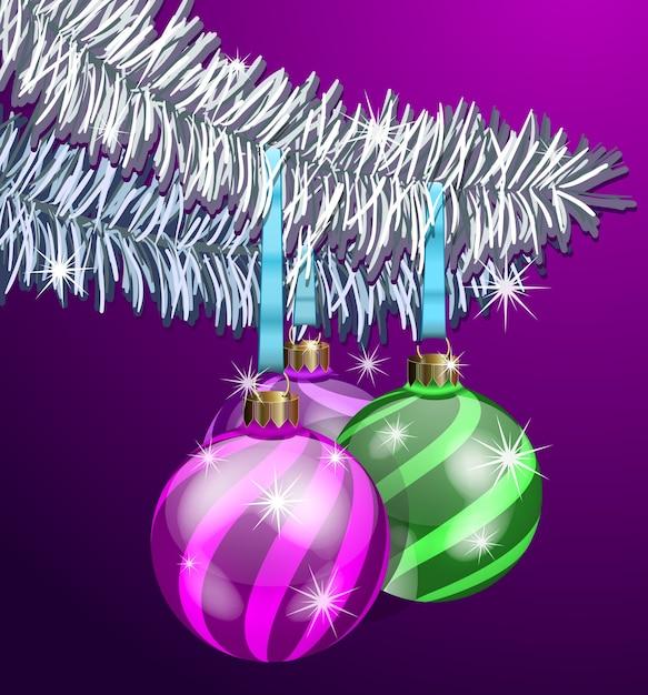 전나무 가지에 현실적인 크리스마스 공 무료 벡터