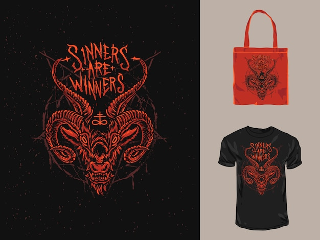 Красная сатанинская демоновая футболка и большая сумка Premium векторы