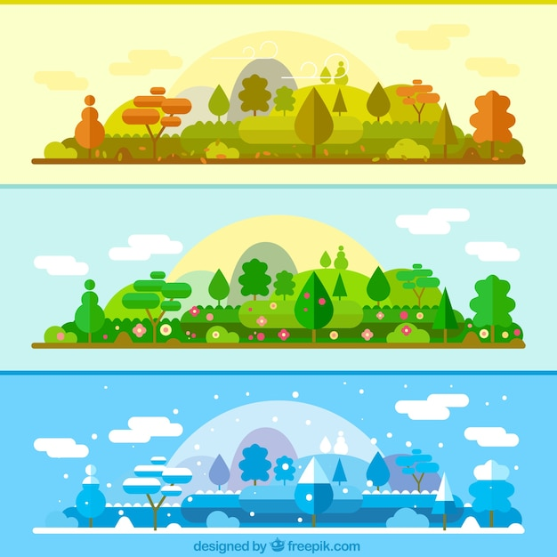 The same landscape in different seasons\ banners
