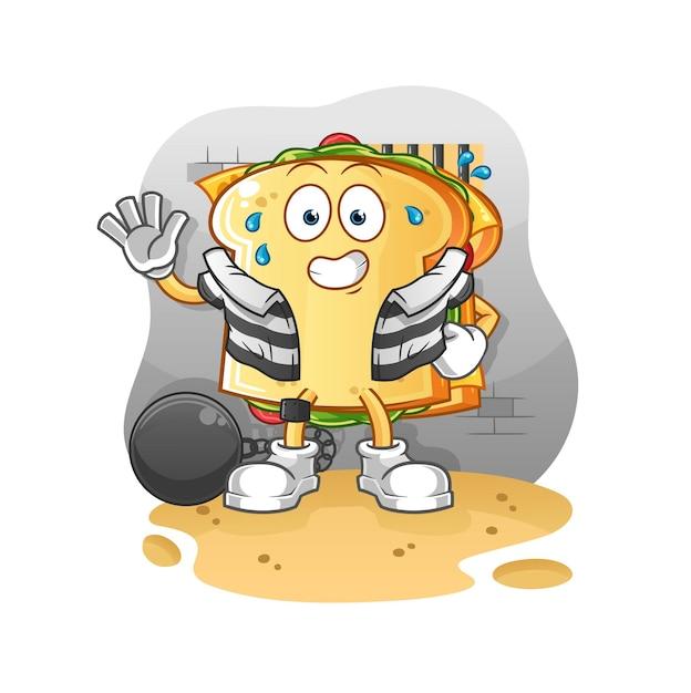 刑務所のマスコットのサンドイッチ犯罪者 Premiumベクター