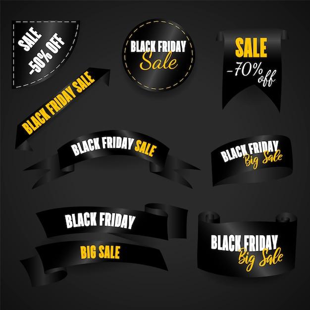 Свиток черный, логотип, эмблема и этикетка черной пятницы Premium векторы