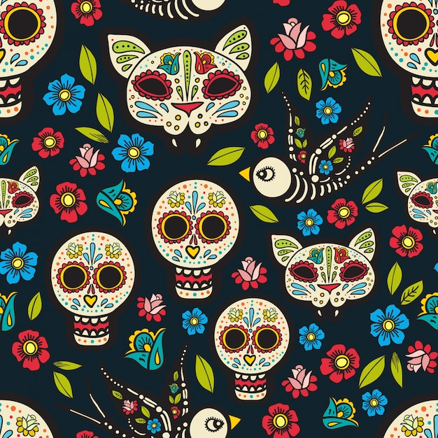 the seamless of day of the dead vector premium download rh freepik com day of the dead vector portrait day of the dead skull vector
