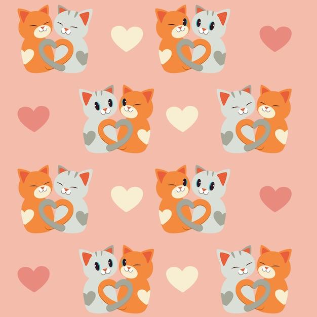 猫と心のシームレスパターン。猫のカップルの愛。 Premiumベクター