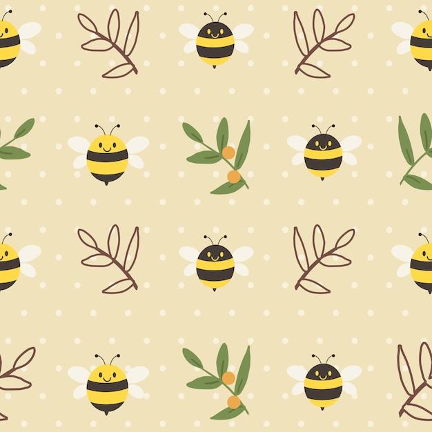 かわいい蜂とフラットスタイルの水玉模様の黄色の背景に葉のシームレスなパターン。 Premiumベクター