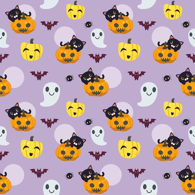 평면 벡터 스타일에 할로윈의 완벽 한 패턴입니다. 유령과 박쥐와 호박에 앉아 귀여운 고양이의 Illustation 프리미엄 벡터