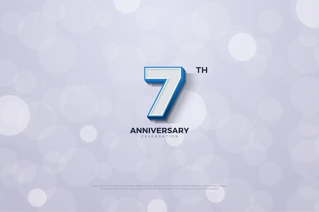 Седьмая годовщина синего полосатого фона с цифрами по краю фигур Premium векторы