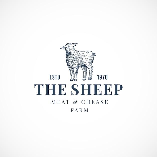 羊の抽象的なサイン、シンボルまたはロゴ 無料ベクター