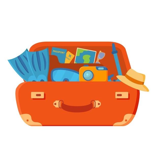 スーツケースは開いています。ひれ、カメラ、メガネ、パスポート、航空券、ヤシの木、ヒトデ。夏休み。 Premiumベクター