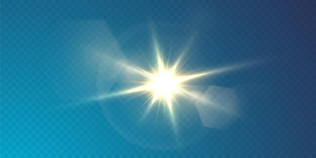 太陽はリアルなまぶしさで明るい光線を照らしています。透明な黒い背景に明るい星。 Premiumベクター