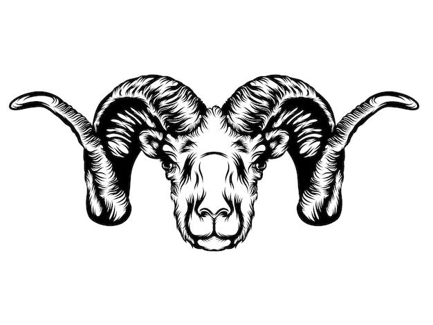 角のある山羊の頭のタトゥーアニメーション Premiumベクター