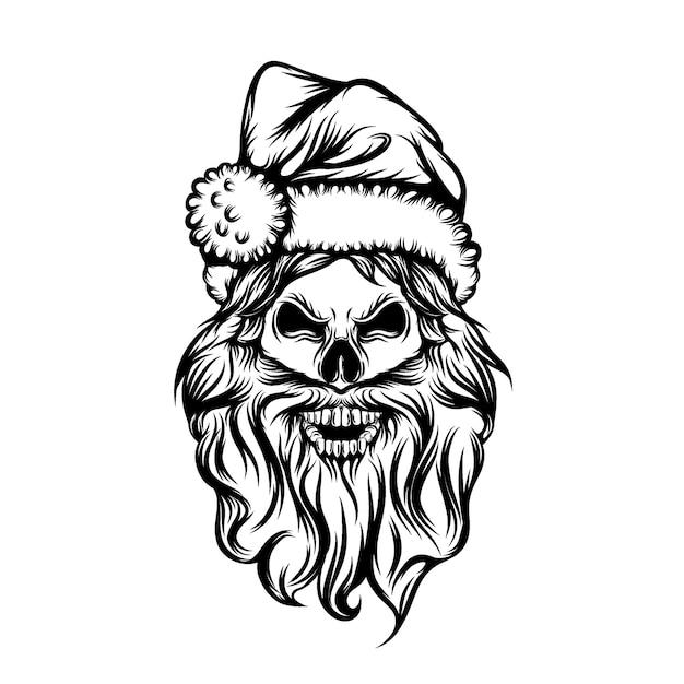 長いひげと頭蓋骨の入れ墨のアイデアとクリスマス帽子を使用 Premiumベクター