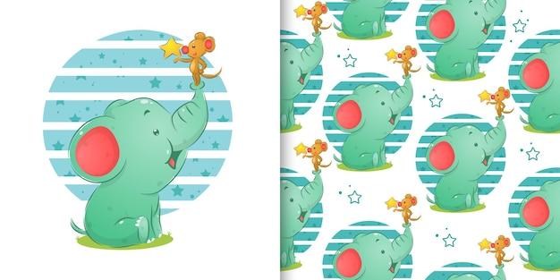 Слон и мышка держат звезду для бесшовного набора иллюстраций Premium векторы
