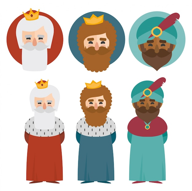 the three kings of orient isolated. 3 magi. icons vector set Premium Vector