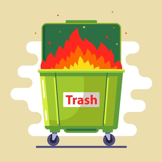ゴミ箱が燃えています。ルール違反。自然と人に害を及ぼす。悪い生態。フラットイラスト Premiumベクター