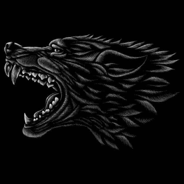 Векторный логотип собака или волк Premium векторы