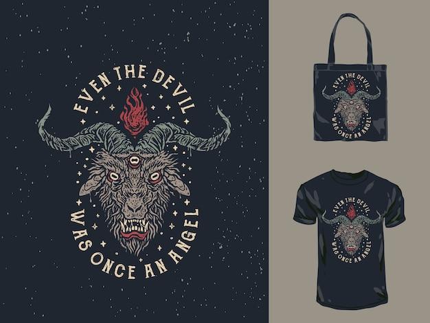 Винтажная футболка с изображением лица дьявола Premium векторы