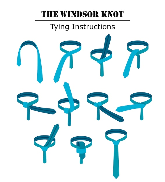 ウィンザーネクタイの結び目の指示が白い背景で隔離されました。ネクタイの結び方のガイド。フラットイラスト Premiumベクター