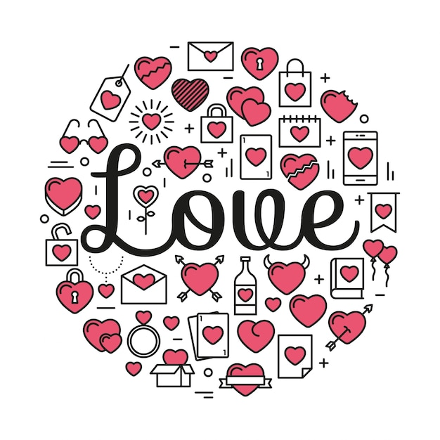 The word Love surrounded by icons and hearts Vector | Free ...