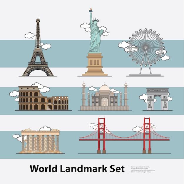 Набор иллюстраций world landmark travel Premium векторы