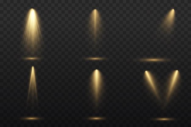 노란색 스포트라이트가 빛납니다. 램프 또는 스포트라이트의 빛. 프리미엄 벡터