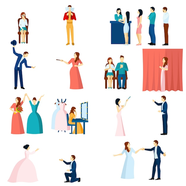 Theater actors flat icons set Free Vector