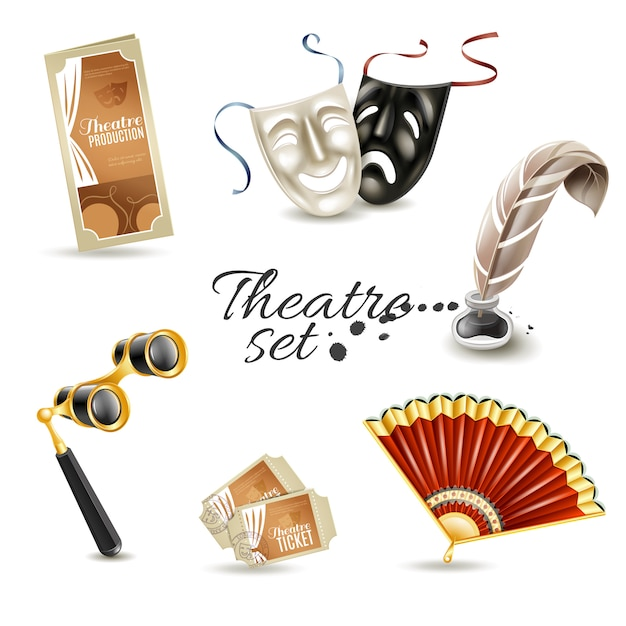 Theater attributes flat pictograms set Free Vector