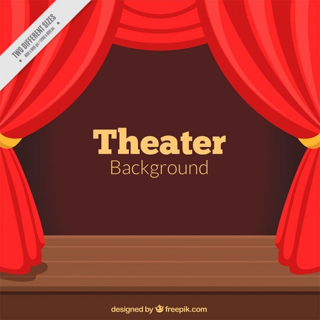 Theater Background With Red Curtains And Wooden Stage Free Vector
