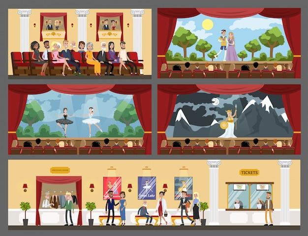 Интерьер театральных залов украшен спектаклем, оперой и балетом. Premium векторы