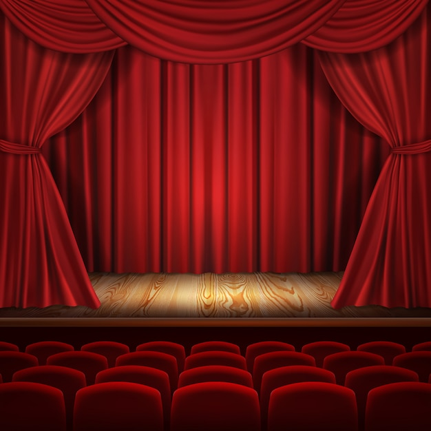 Theater concept, realistic luxurious red velvet curtains with theatre scarlet seats Free Vector
