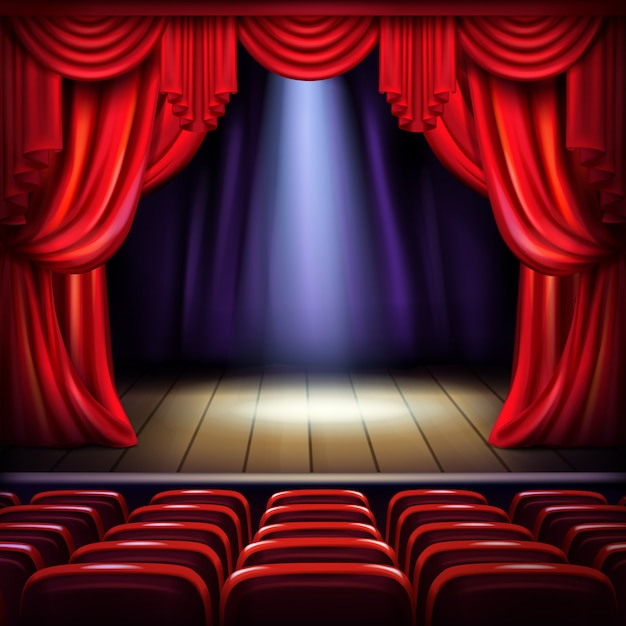 Theater or concert hall stage with opened red curtains, spotlight beam spot in center Free Vector