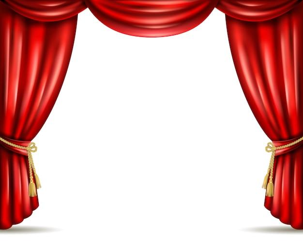 Theater curtain open flat banner illustration Premium Vector
