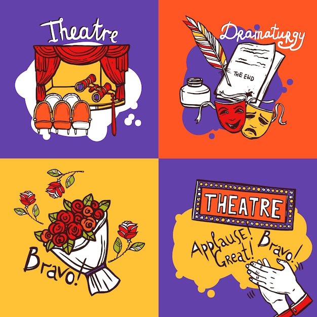 Theater design concept Free Vector