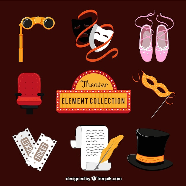 Theater elements collection Free Vector