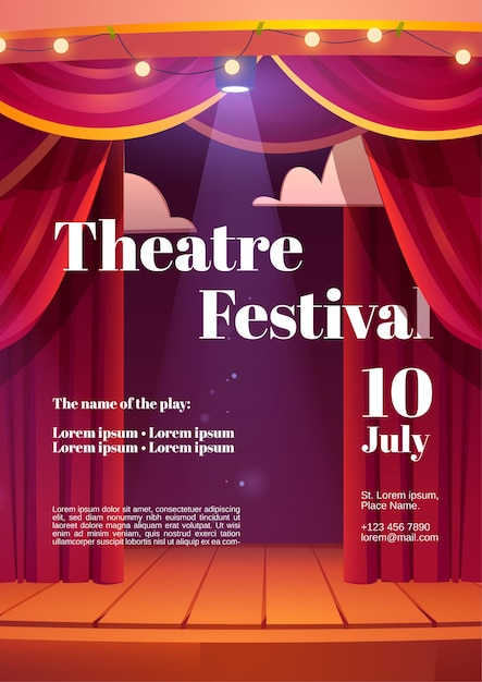 Theater festival poster with backstage red curtains and wooden scene with glowing spotlights and garland Free Vector