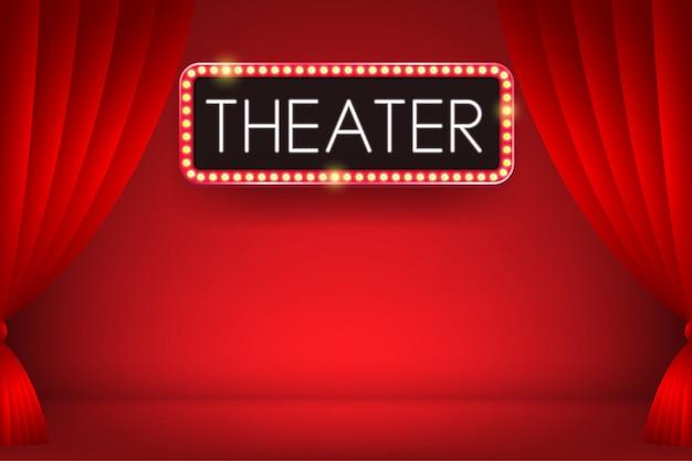 赤いカーテンを背景にした電球の看板の劇場輝くネオンテキスト。図。 Premiumベクター