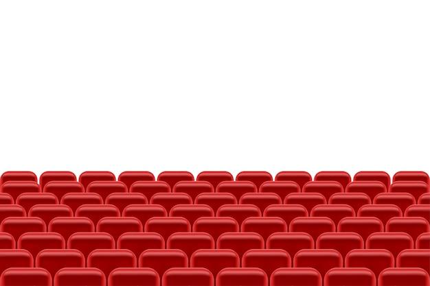 Театральный зал с креслами для зрителей иллюстрации, изолированные на белом фоне Premium векторы