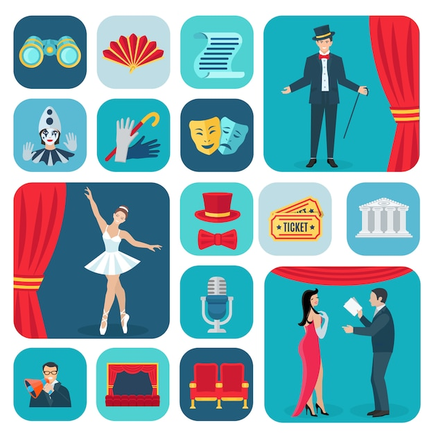 Theater icons flat set Free Vector